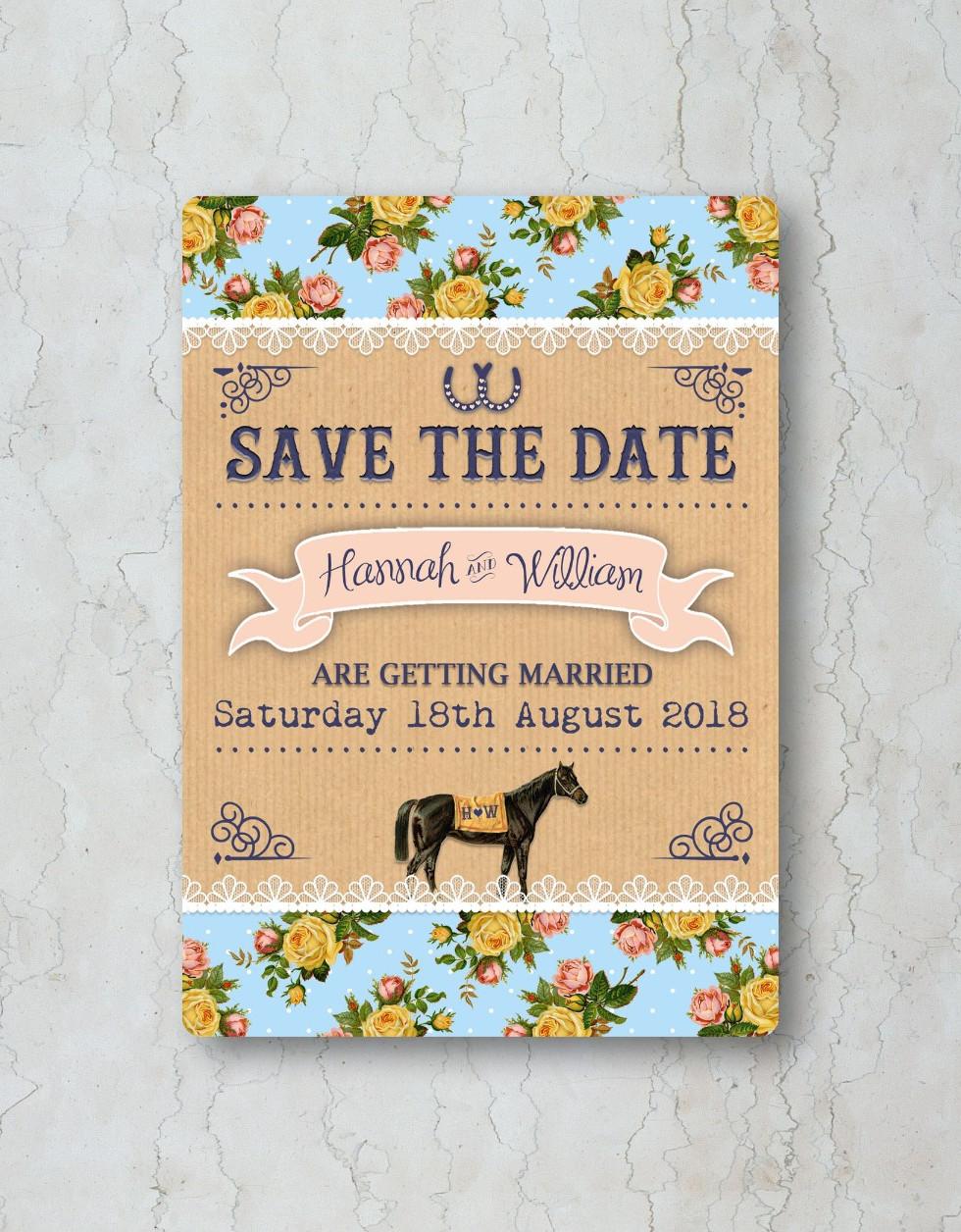Race Horse Save the Date Wedding Invitat