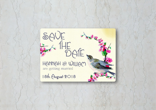 Vintage Birds Cream Save the Date Magnet