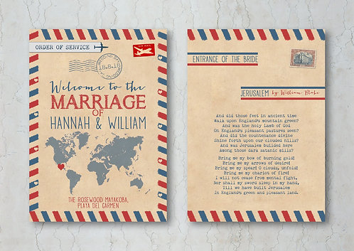 Airmail Wedding Order of Service