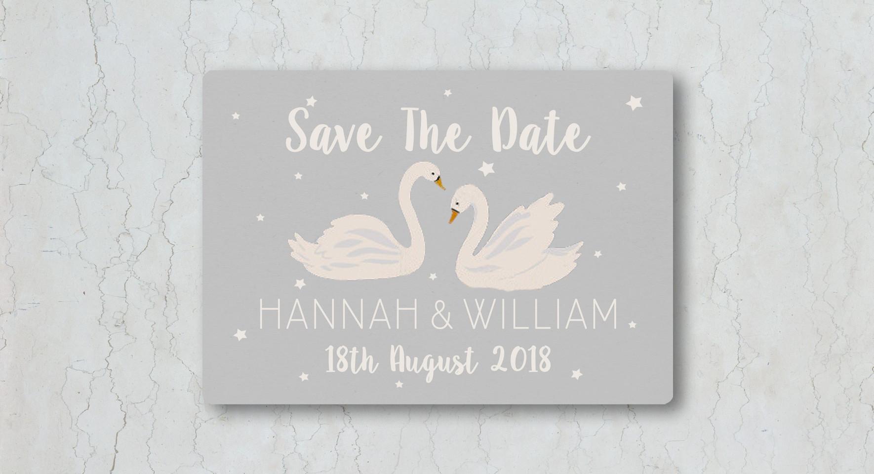 Swan Save the Date Wedding Invitation
