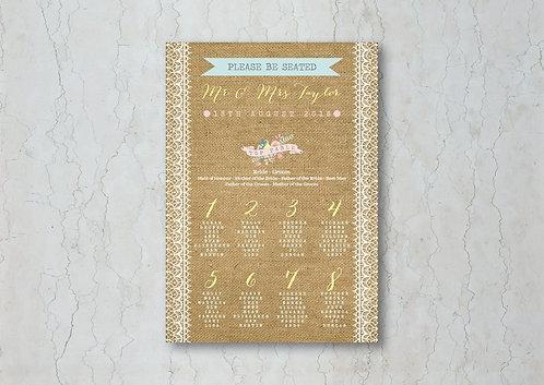 Hessian Floral Wedding Table Plan