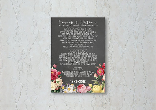 Floral Chalkboard Wedding Invitation Insert