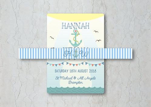 Nautical Wedding Invitation Belly Band