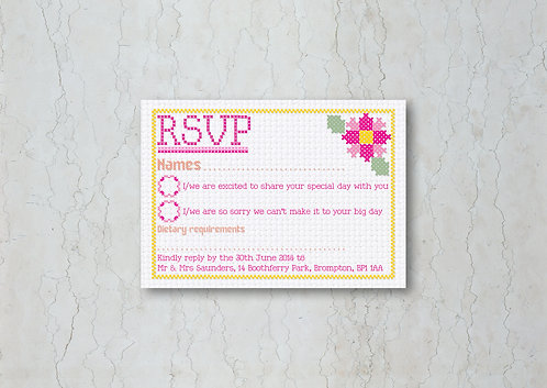 Cross Stitch Wedding Invitation RSVP