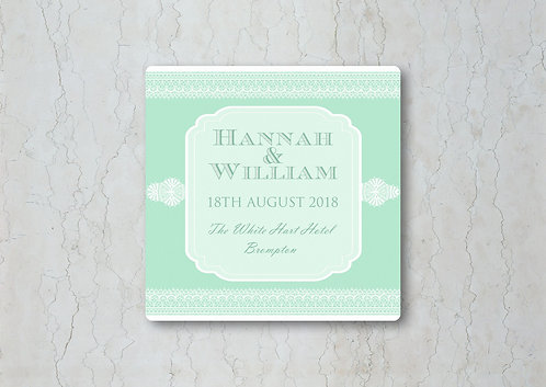 Classic Lace Wedding Beer Mat