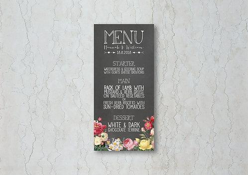 Floral Chalkboard Wedding Menu