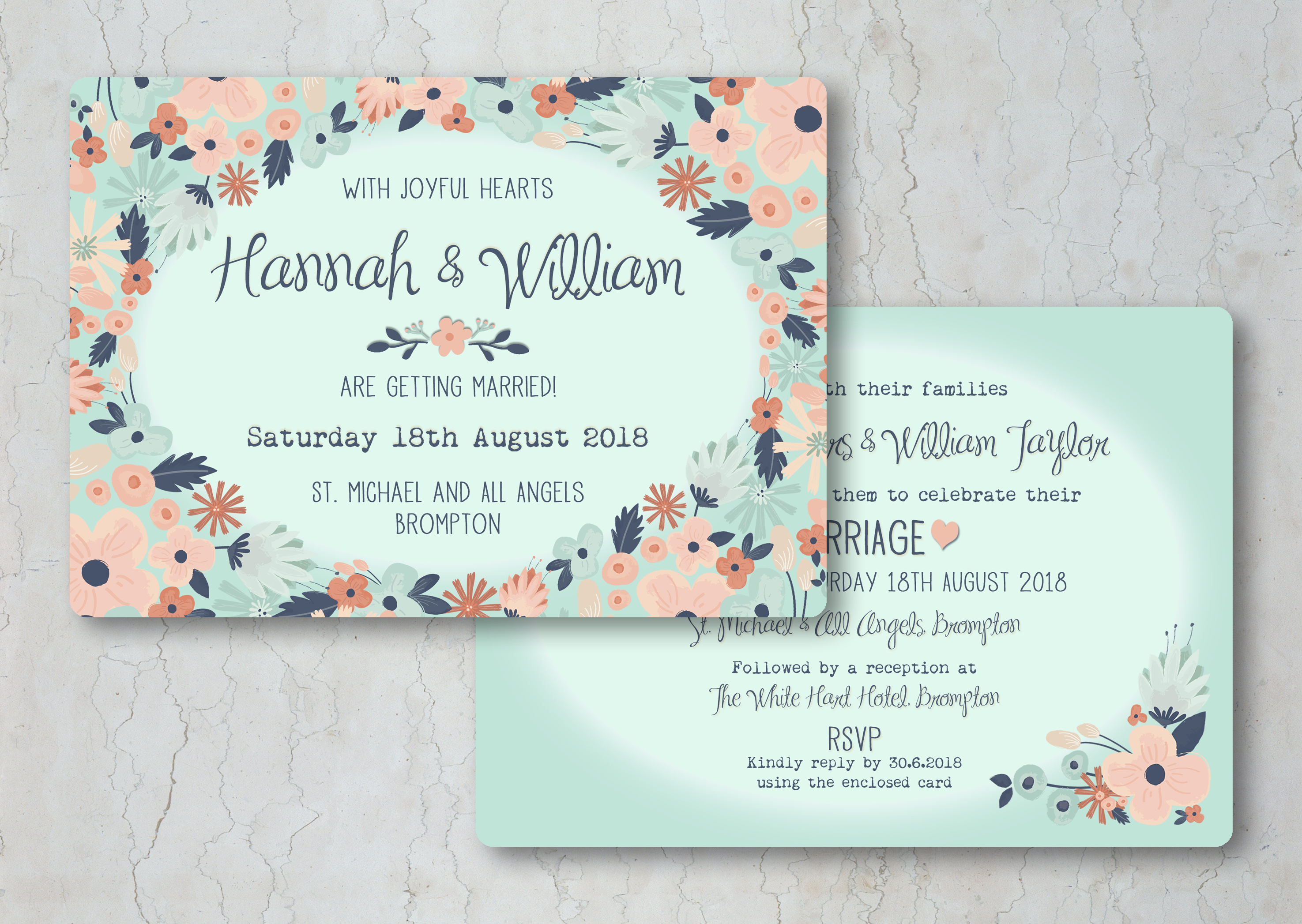 Simply Floral Wedding Invitation