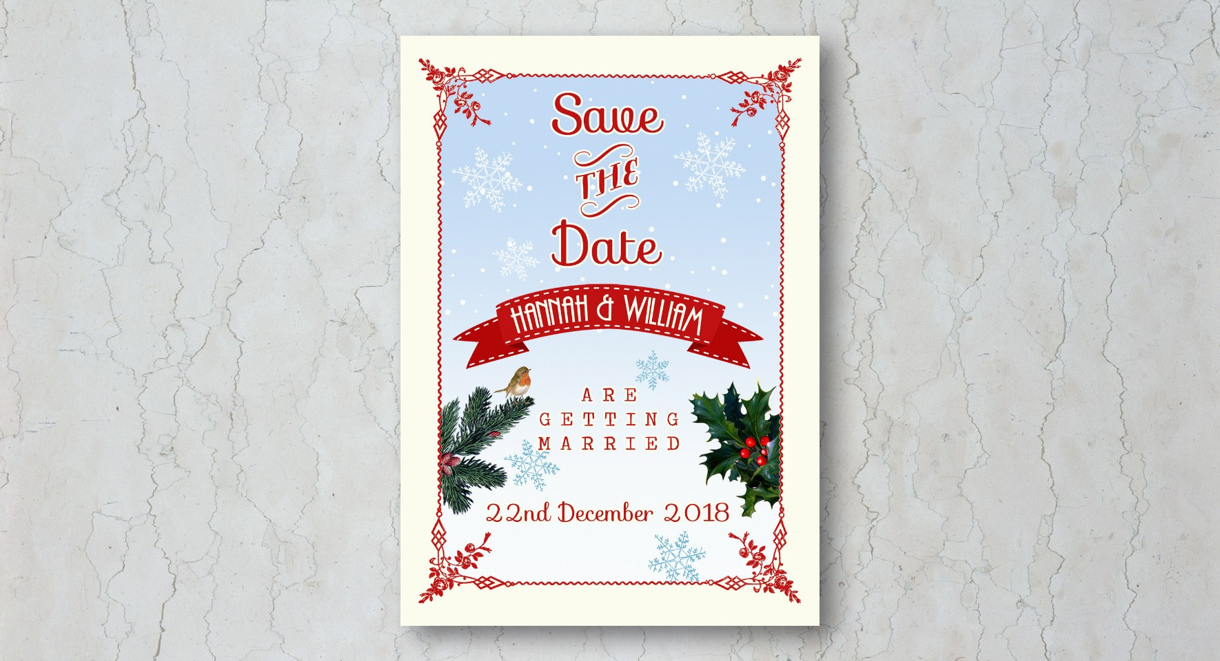 Traditional Christmas Save the Date Wedd