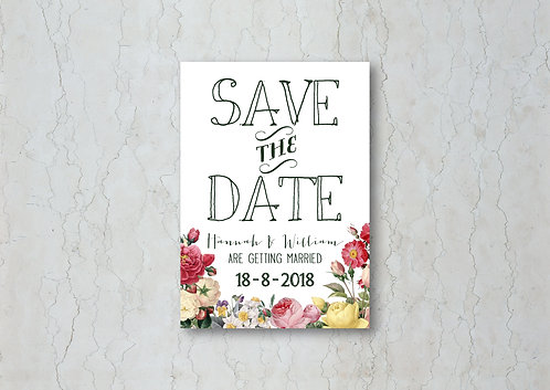 Floral White Save the Date