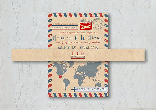 Airmail Wedding Invitation Belly Band