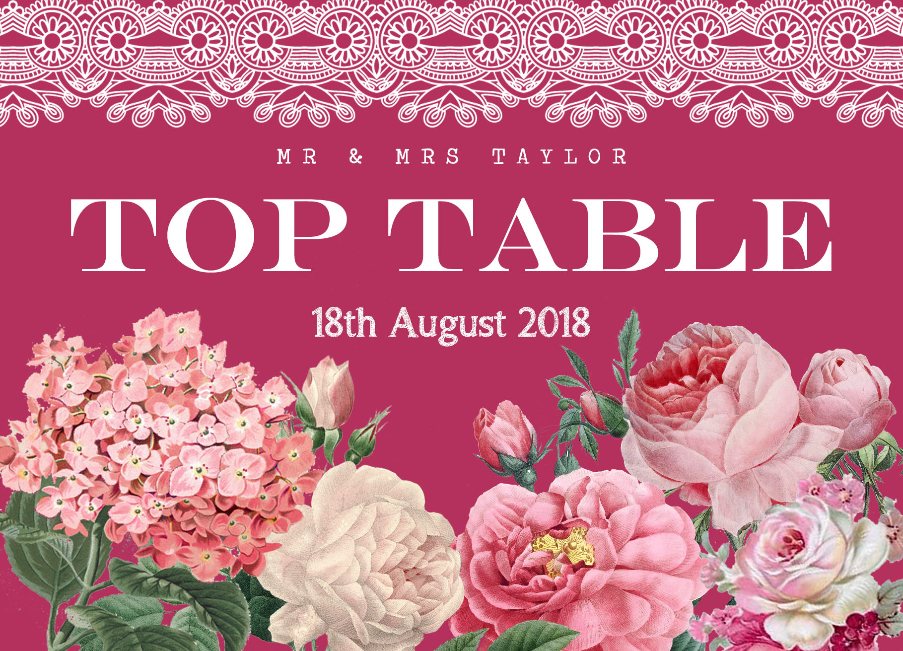 Floral Lace Table Name Berry