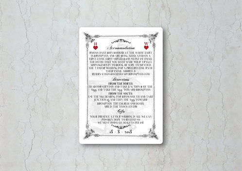 Alice in Wonderland Wedding Invitation Insert