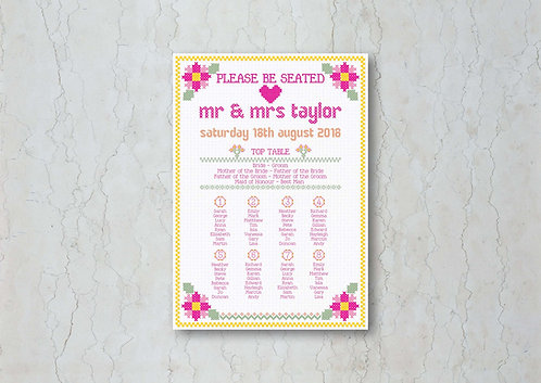 Cross Stitch Wedding Table Plan