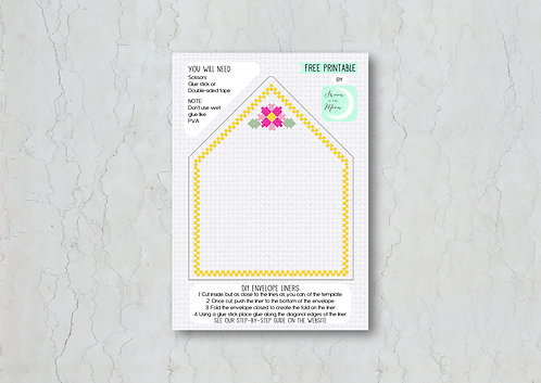 Cross Stitch Wedding Invitation Envelope Liner