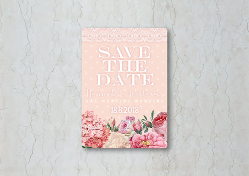 Floral Lace Blush Save the Date