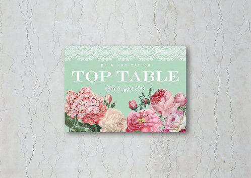 Floral Lace Wedding Table Name