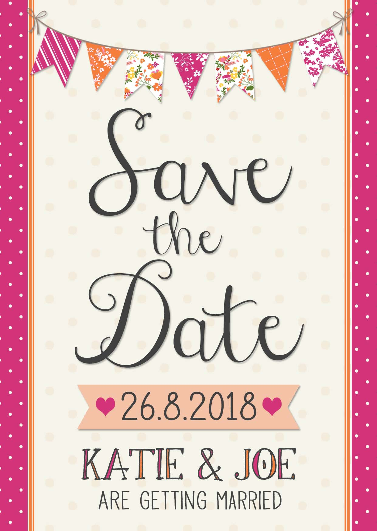 Fete Wedding Save the Date Hot Pink