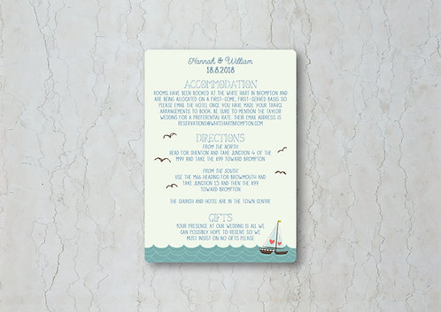 Nautical Wedding Invitation Insert