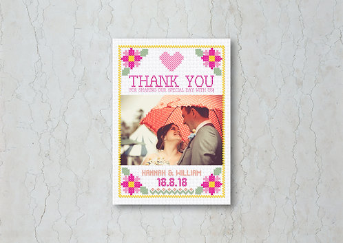 Cross Stitch Wedding Thank You Card