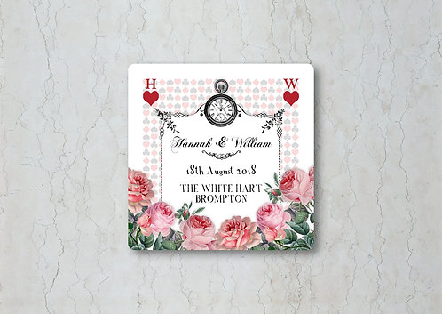 Alice in Wonderland Wedding Beer Mat