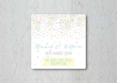 Candy Confetti Wedding Beer Mat
