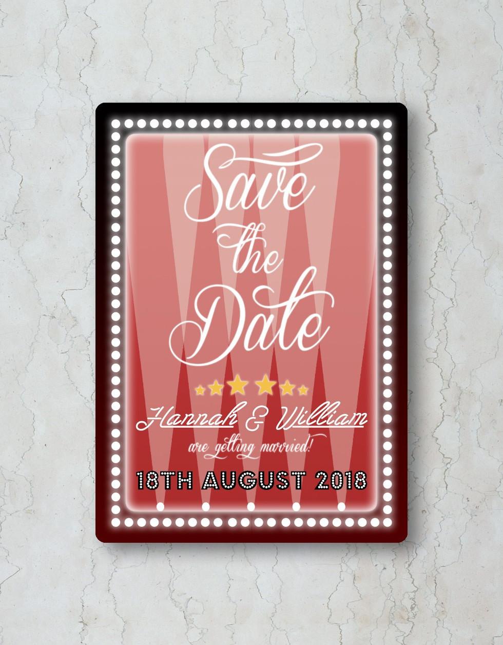 Hollywood Save the Date Wedding Invitati