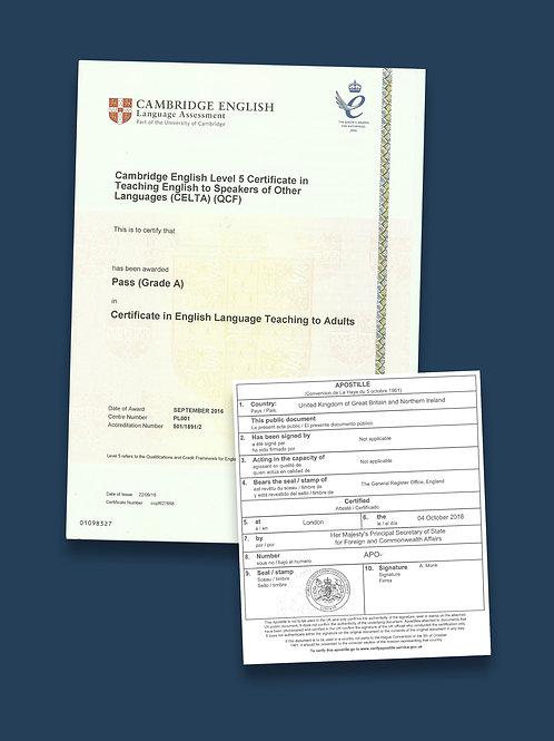 CELTA Certificate Apostille + Options