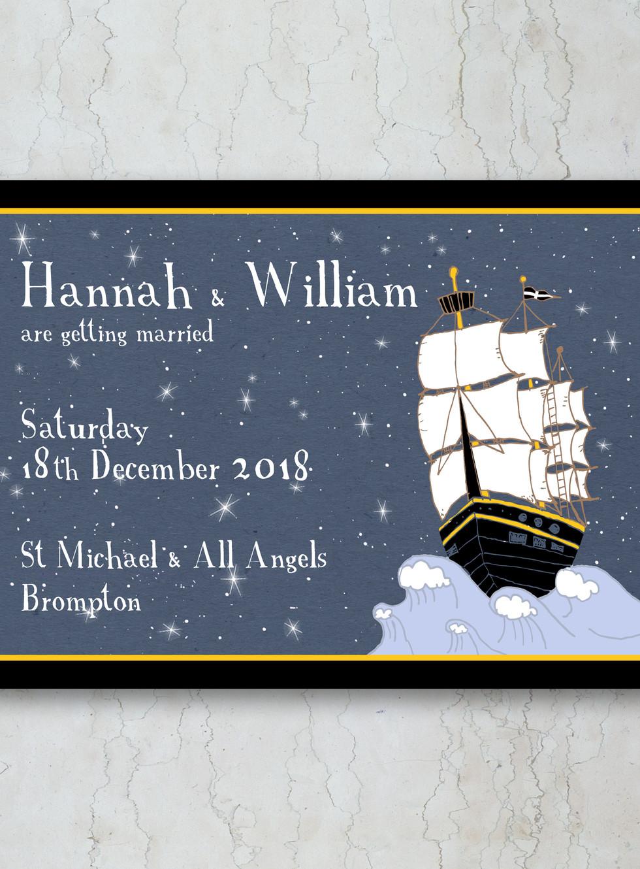 Ships in the Night Wedding Invitation