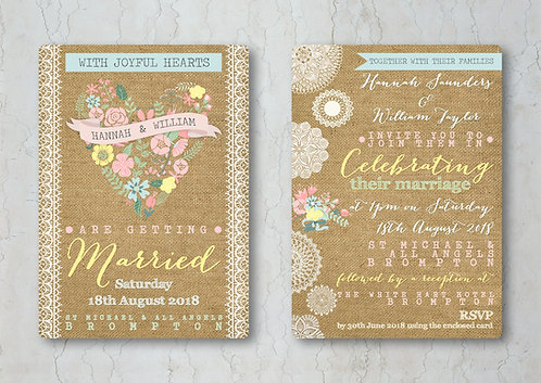 Hessian Floral Wedding Invitation