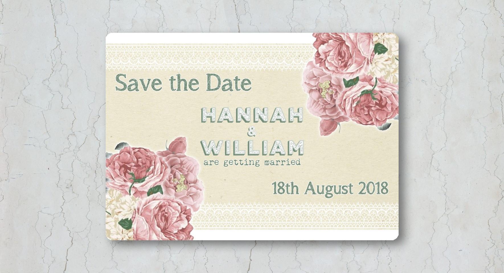 Vintage Rose Save the Date Wedding Invitation