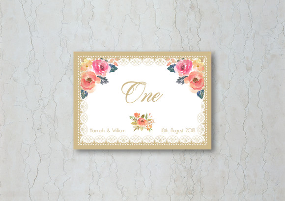 Vintage Watercolour Wedding Table Number