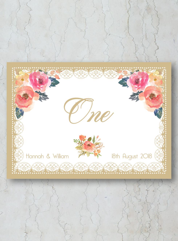 Floral Gold Wedding Stationery