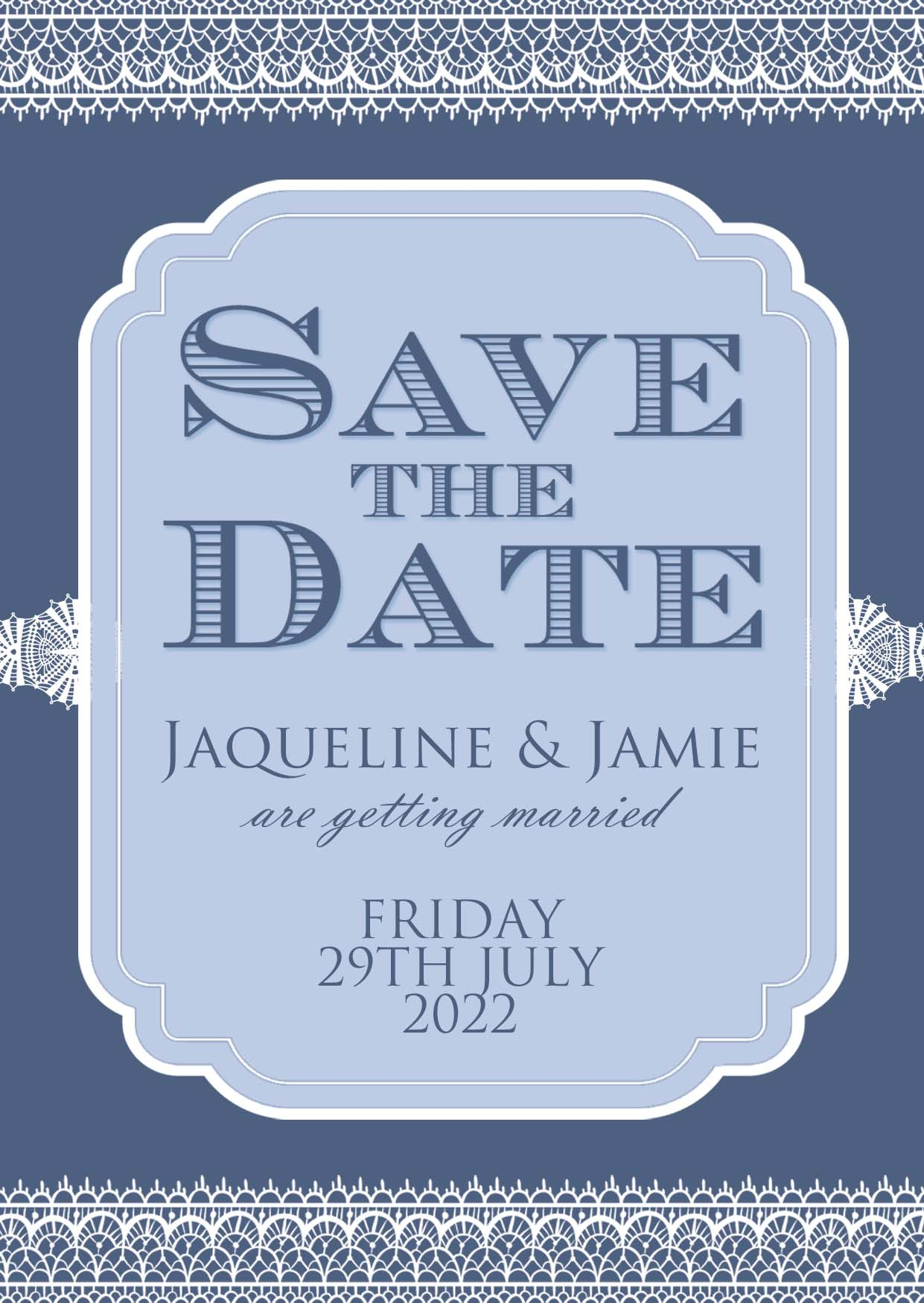 Classic Lace Save the Date Midnight