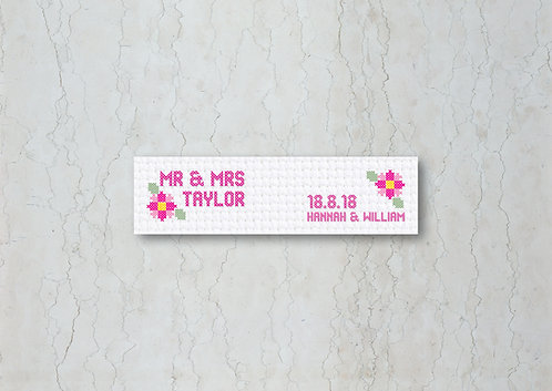 Cross Stitch Wedding Straw/Cupcake Flags
