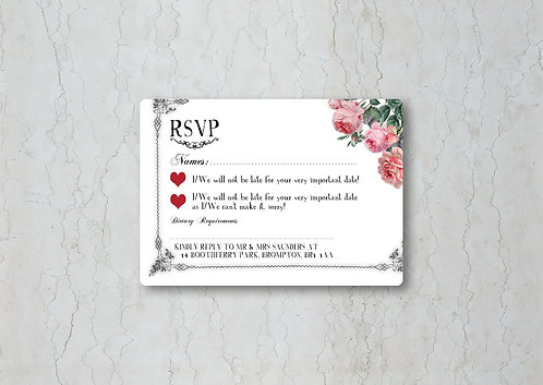 Alice in Wonderland Wedding Invitation RSVP