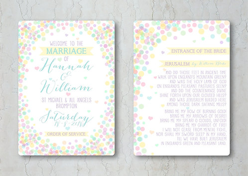 Candy Confetti Wedding Order of Service