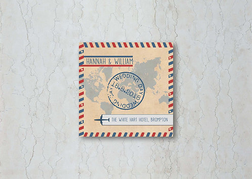 Airmail Wedding Beer Mat
