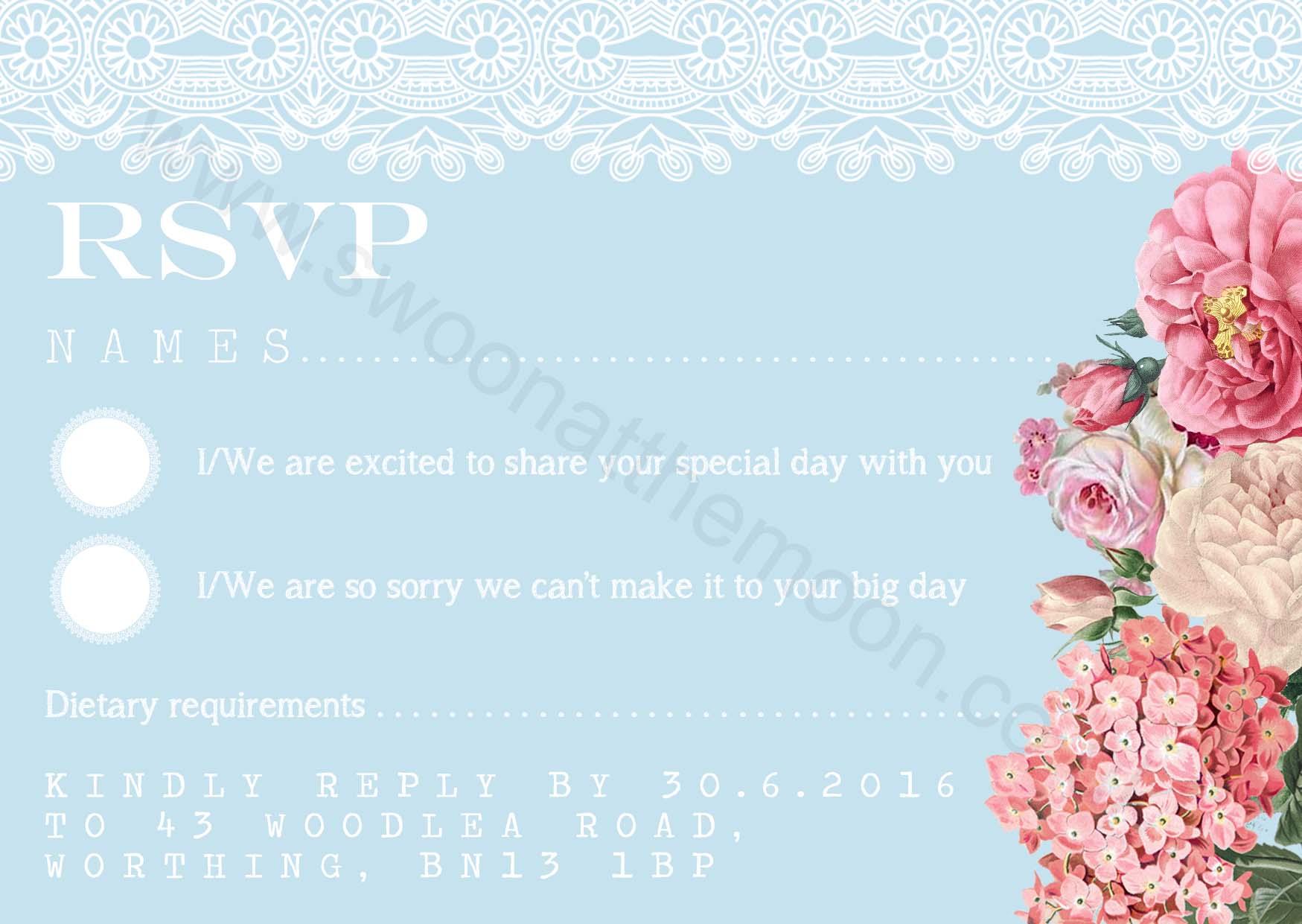 Floral Lace Invite RSVP Light Blue