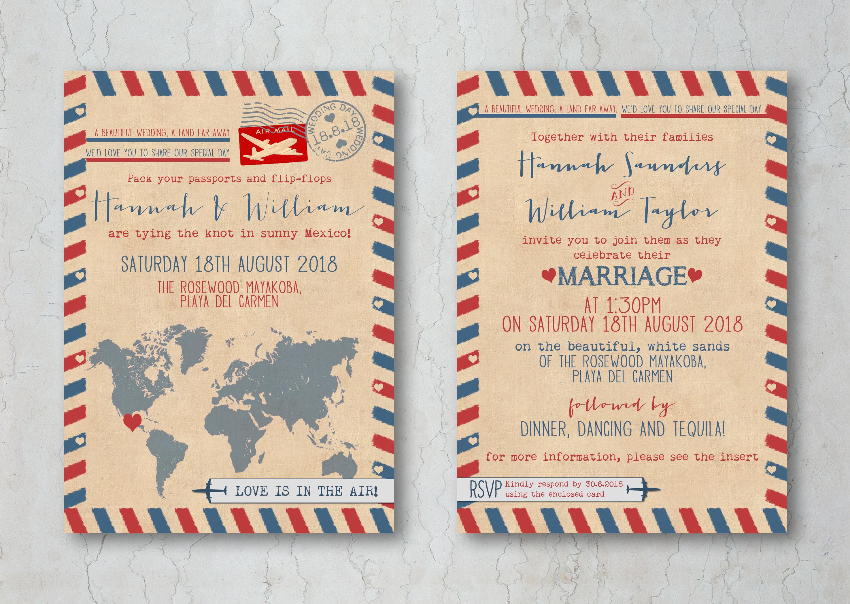 Airmail Wedding Invitation Card - We