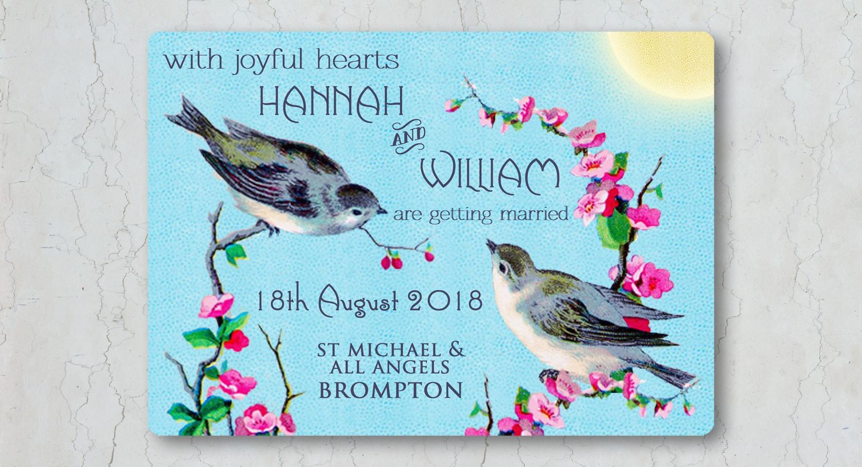 Vintage Birds Wedding Invitation