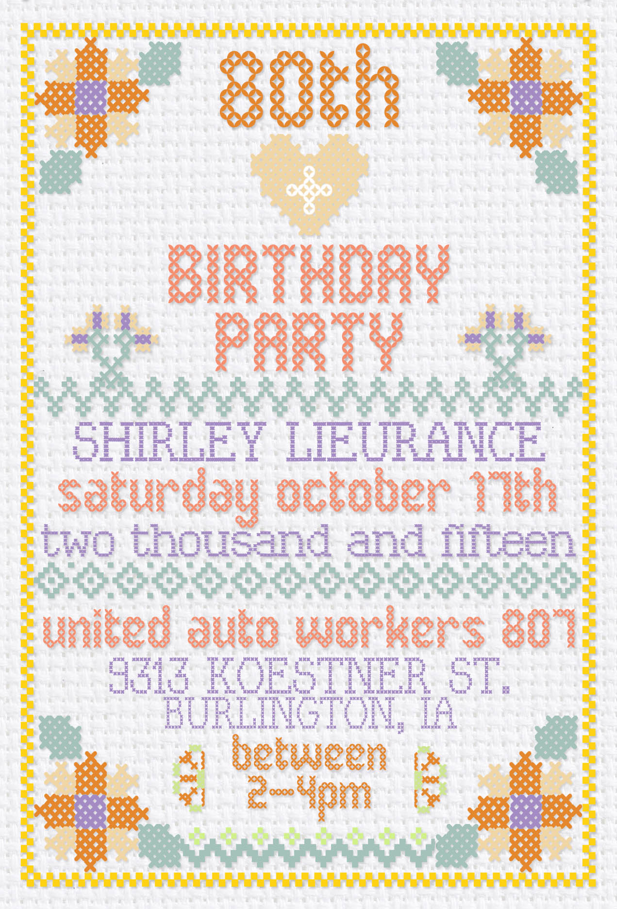 Cross Stitch Birthday Invitation