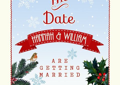 Christmas Save The Date.Traditional Christmas Save The Date