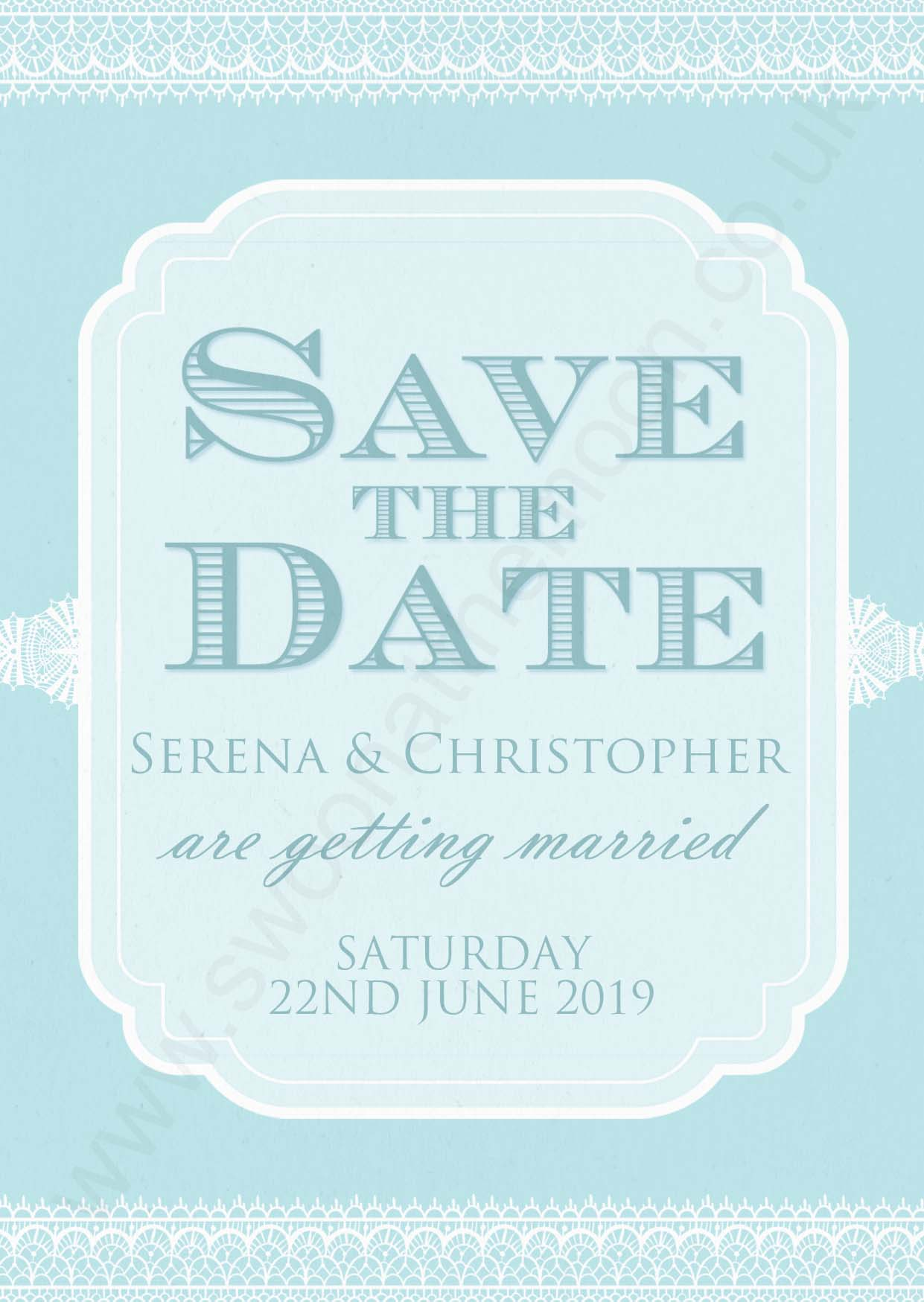 Classic Lace Save the Date Sky Blue