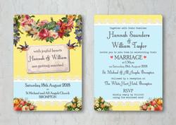 Vintage Brights Wedding Invitation