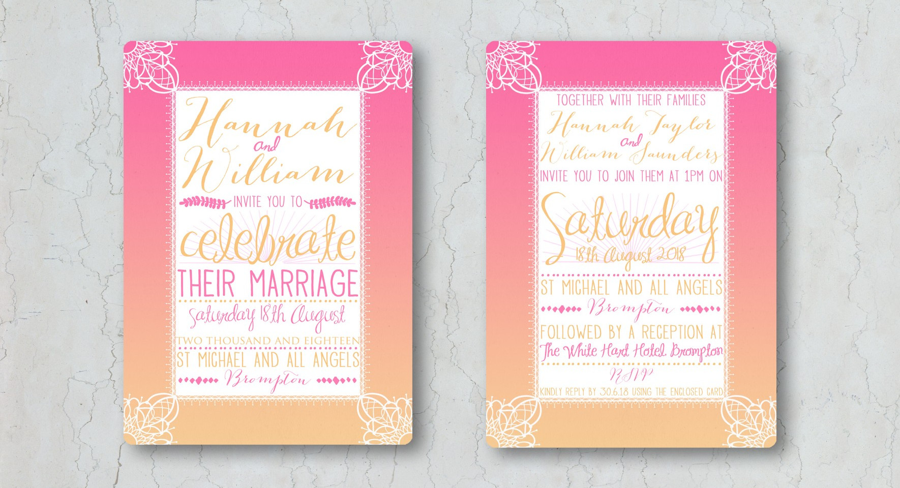 Pink Sunset Wedding Invitation
