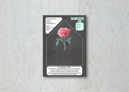 Floral Chalkboard Wedding Invitation Envelope Liner