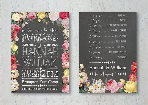 Floral Chalkboard Wedding Order of Service