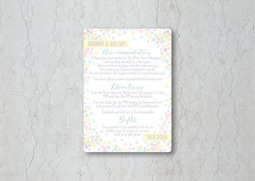 Candy Confetti Wedding Invitation Insert