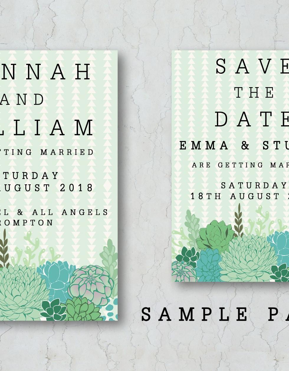 Succulent Wedding Invitation Sample Pack