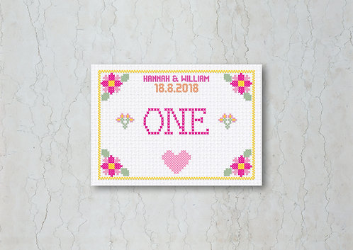Cross Stitch Wedding Table Number